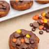 Chocolate Peanut Butter Topped Donuts
