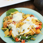 Chicken Taco Salad with Avocado Ranch Dressing