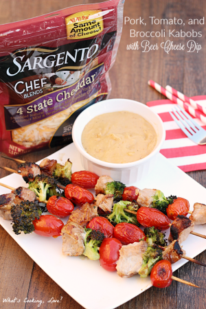 Pork, Tomato and Broccoli Kabobs with Beer Cheese Dip